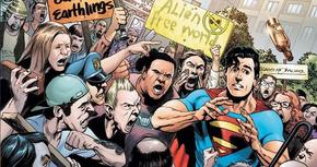 Imágenes de la manifestación contra los superhéroes en 'Batman v Superman: Dawn of Justice'