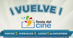 La novena edición de la Fiesta del cine se celebrará los días 3, 4 y 5 de noviembre